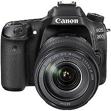 """Canon EOS 80D - Cámara réflex digital de 24.2 MP (pantalla táctil de 3"""", video Full HD, enfoque automático, WiFi) negro - kit cuerpo con objetivo Canon EF 18-135 mm f/3.5-5.6 IS (versión importada)"""