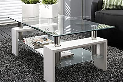 Neotechs® Modern White Rectangle Clear Glass & Chrome Living Room Coffee Table With Lower Shelf - low-cost UK light shop.
