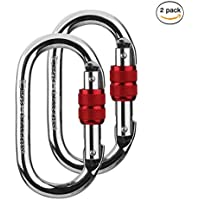 2 Pack mosquetón de escalada (25kn=5600 LB) O-Shaped Super fuerza