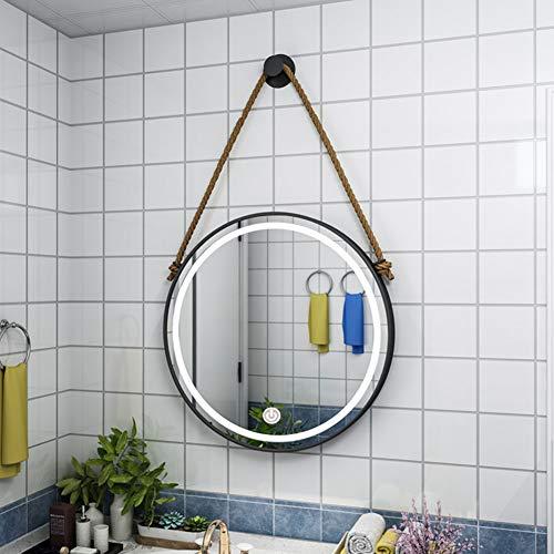 DJZZ Espejo Redondo Grande Espejo de baño LED retroiluminado Toque Colgando Apartamentos nórdicos...