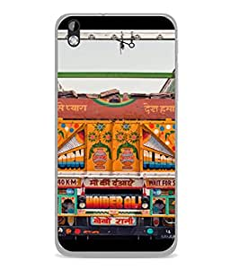 FUSON Designer Back Case Cover for HTC Desire 816 :: HTC Desire 816 Dual Sim :: HTC Desire 816G Dual Sim (Decorated Goods Carrier On Indian Road Stop Dil Tera)