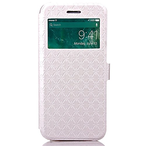 Wkae Case Cover iPhone 7 plus de cas, en cuir PU Fenêtre Case Grille Lattice Motif stand Case Cover avec emplacement de carte pour Apple iPhone7 plus by DIEBELLEU ( Color : Purple , Size : Iphone 7 Pl White