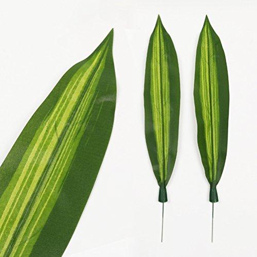 VORCOOL 10 Stücke Gefälschte Pflanzen Dracaena Fragrans Künstliche Tropische Blätter Grün Einzelblatt für Home Küche Partydekorationen (dunkelgrün)