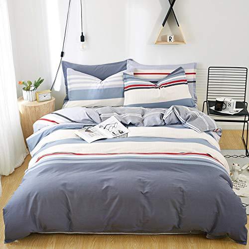 Unbekannt Neuer vierteiliger Bettbezug aus Baumwoll-Leinen im nordischen Stil für Herbst und Winter1,5 m Bettlaken vierteiliges Set