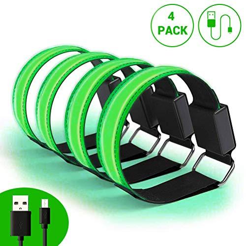 Phayee LED Armband, Reflektorband,USB Reflective Band Armbänder,für Laufen Joggen Radfahren Hundewandern Running Jogging und andere Outdoor Sports