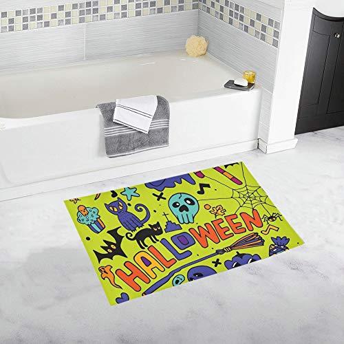 LMFshop Gekritzel-Halloween-Feiertags-Entwurfs-Konzept Rutschfester Bad-Matten-Teppich-Bad-Fußmatten-Boden-Teppich für Badezimmer 20 x 32 Zoll