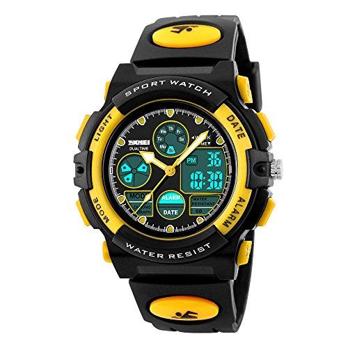 Hiwatch Sportuhren für Kinder Wasserdichte Digital-Armbanduhr Gelb