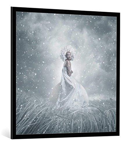 kunst für alle Bild mit Bilder-Rahmen: hardibudi Snow White - dekorativer Kunstdruck, hochwertig gerahmt, 100x100 cm, Schwarz/Kante grau (Snow White Bilderrahmen)