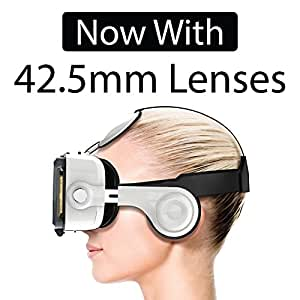 Domo Vr10 120° Fov 42.5Mm Big Lens 3D And Video Vr Headset Inbuilt Sterio Sound Headphone And Capacitive Touch Button For Smart Phones Upto 6 Inch