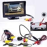 Drahtlose Kabellose Funk Flach Mini Rückfahrkamera mit Hilfslinien und FARB Monitor - LED Nachtsicht für PKW Auto, Kleine Bus - Rear View Camera