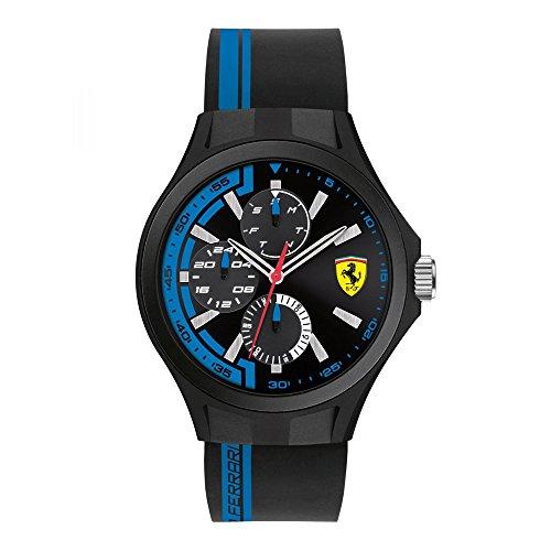 Ferrari Scuderia Homme 36mm Bracelet Caoutchouc Noir Boitier Résine Quartz Analogique Montre 0830368