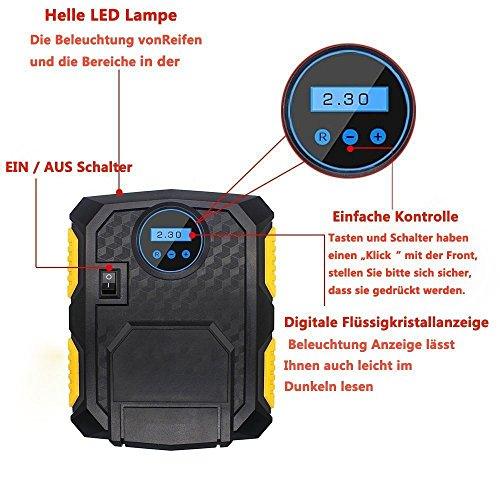 ELEAR portatile Pompa pneumatica compressore dellaria di pressione pneumatica dellautomobile 12V motocicletta