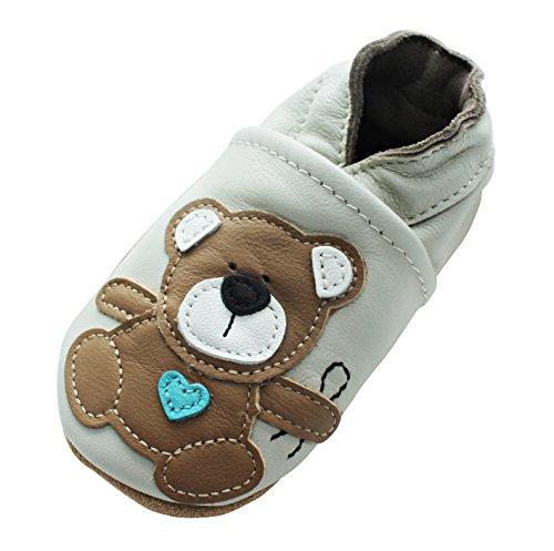 Engel+Piraten Krabbelschuhe Markenqualität Aus Deutschland- Viele Modelle bis 4 Jahre Babyschuhe Leder Lauflernschuhe Lederpuschen (6-12 Monate(Gr.18/19), Teddy)