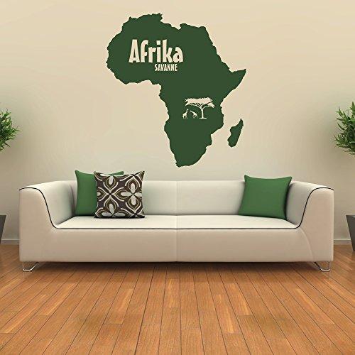 malango® Wandtattoo Afrika Kontinent Wanddekoration Wanddesign Savanne Wand Tattoo Dekoration Design ca. 118 x 130 cm Gold