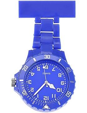 JSDDE Uhren,Schwesternuhr Damen Herren Silikon Beschichtung Krankenschwesteruhr Taschenuhr Analog Quarzuhr(Dunkelblau)