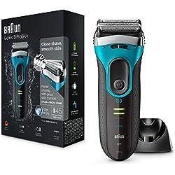 Braun Series 3 ProSkin 3080s Wet&Dry Rasoio Elettrico Ricaricabile con Base di Ricarica, Rasoio da Barba per Uomo, Premium Blu