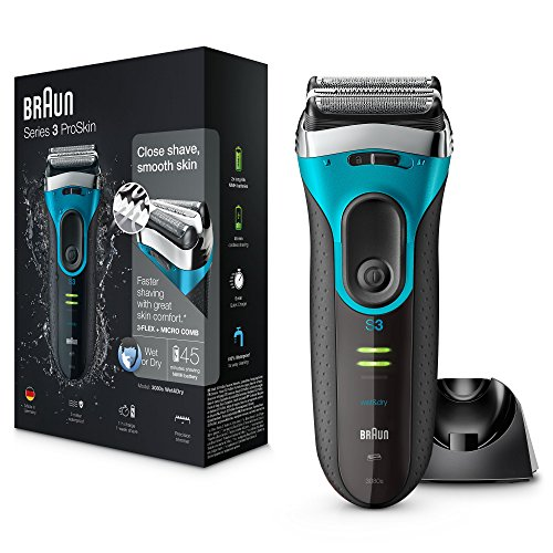 Braun Series 3 ProSkin 3080s Wet and Dry Electric Shaver for Men/Rechargeable Electric Razor – Blue