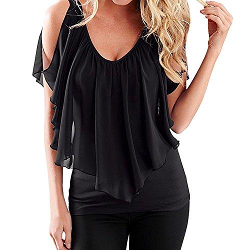 SUNNOW Elegant Damen T-Shirt Casual kurzarm dünne Fedemaus Ärmel Chiffon Tops Bluse Sommer (EU 40,...