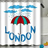 Randell Bathroom Shower Curtain Umbrella Leaf Heart Waterproof Fabric Shower Curtain 60(W) X 72(L) Inches For Men Women Kids
