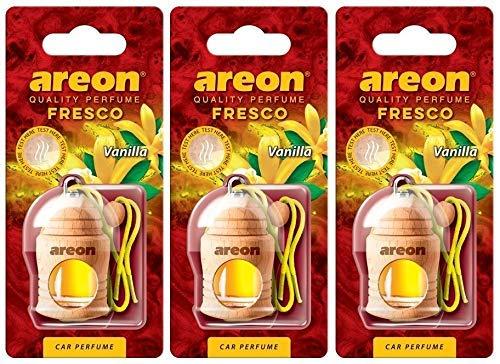 Areon Fresco Deodorante Auto Vaniglia Profumo Dolce Legno Bottiglie Da Appendere Specchietto Liquido Pendente Vetro Boccetta Originali Giallo Legami 4ml 3D Casa ( Vanilla Set x 3 )