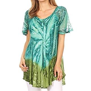 Sakkas 17781 - Mira Tie Dye Two Tone Sheer Cap Sleeve Relaxed Fit Embellished Tunic Top - 6-Aqua - OS