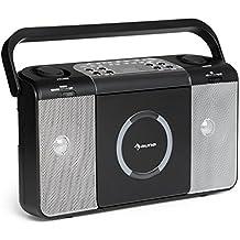 auna Boomtown • Radio CD • Equipo estéreo • Boombox • Radiograbadora • Reproductor de CD con MP3 • Lectura de todo tipo de CD • USB • Asa • Radio FM • Entrada AUX de 3,5-mm • 2 x 1,5 W de potencia media • Con pilas o con cable • Negro