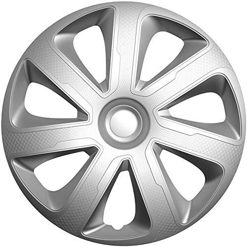 Preisvergleich Produktbild TSS Handel Radkappen Radzierblenden 4 Stück 13 Zoll Silber / Carbon-Look