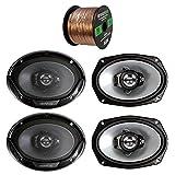 KenwoodAudioBundle 2 Pairs Car Speaker Package of Kenwood KFC 6965s 6x9 Inch 2 Way Black Car Stereo Coaxial Speakers Bundle Combo with Enrock 16g 50 Feet Speaker Wire