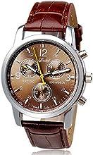 FEITONG Nuevo Lujo Moda cuero de imitación Reloj analógico para hombre Relojes