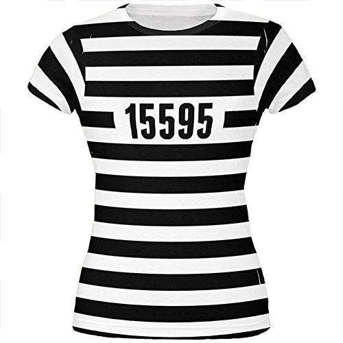 Halloween Gefangenen alten Zeit gestreifte Kostüm aller Junioren T Shirt Multi (Shirt Kostüm Gefangener)