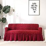 Icegrey Sofabezug Anti Rutsch Sofaüberwurf Sesselhussen Elastisch Sofaüberzug Möbelschutz Rüschen rot Viersitz 230-300cm