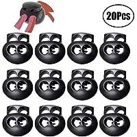 LuLyLu 20 Piezas de Cerradura de Cordón con Resorte para Cordones, Cierre de Extremos de Cuerda de Doble Agujero de Plástico Negro Deslizador de Tapón Botón Alargado Oval by