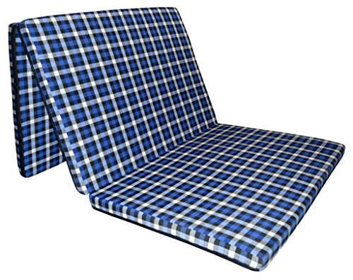 "Sleepinns 2.2 Inches Three Fold Queen Size Foam Mattresses (72"" X 35"" X 2.2"",Checkered)"