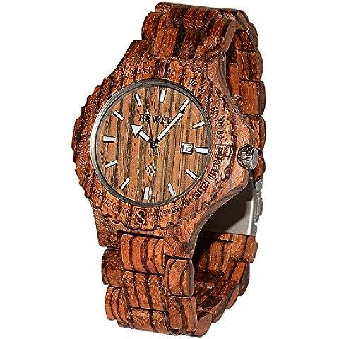Greatwell realizzato a mano, in legno zebrano-Orologi