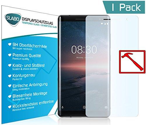 """Slabo PREMIUM Panzerglas Nokia 8 Sirocco Echtglas Displayschutzfolie Schutzfolie Folie (verkleinerte Folien, aufgrund der Wölbung des Displays) """"Tempered Glass"""" KLAR - 9H Hartglas"""
