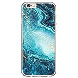 14chvier Kompatibel mit iPhone 5 5S Apple SE Hülle Silikon TPU Schutzhülle Cover Rückschale Blume Flüssigkristall Marmor Hand