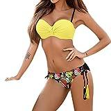 SANFASHION Damen Bikini aushöhlen Rose Blumendruck Push-up Gepolsterte BH Badeanzug Bademode (L, Gelb)