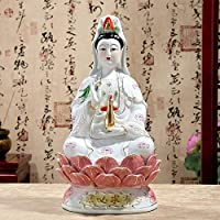 FOXIANG Trabajo Manual de 12 Pulgadas Estatua de Guanyin/Kuan Yin Sentado en la estatuilla