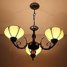 Estilo restaurante retro art glass Tiffany lámparas de araña lámpara de techo colgante con 3luces