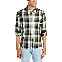 People Men's Casual Shirt (8903880778194_P10102168578424_42_Dk Green)