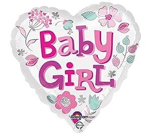 """Amscan International-3363901""""Baby Girl corazón estándar Foil Balloon"""