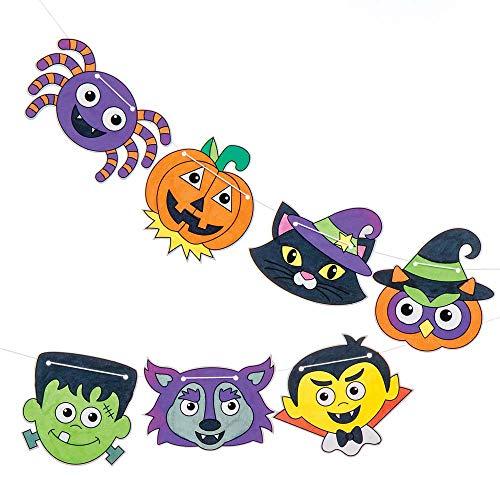 """Baker Ross Girlande """"Halloween"""" zum Ausmalen für Kinder – für Bastelarbeiten und Dekorationen zu Halloween (5 m pro Packung)"""