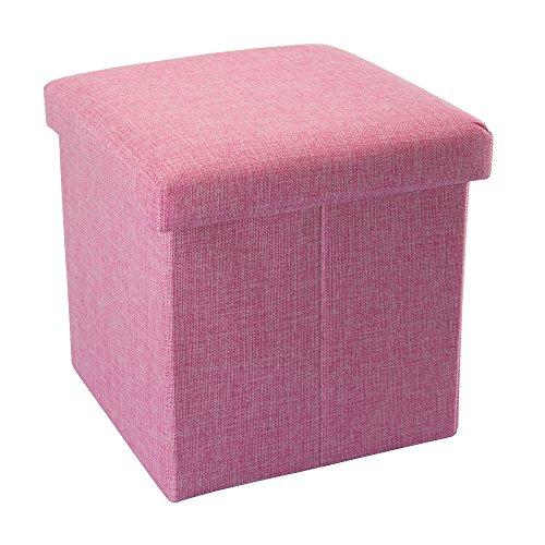 Intirilife – 30 x 30 x 30 cm Sitzhocker Aufbewahrungs-Box aus Stoff in Leinen-Optik und Dekopappe Faltbox Ordnungsbox Kiste mit Deckel in KIRSCHBLÜTEN-PINK