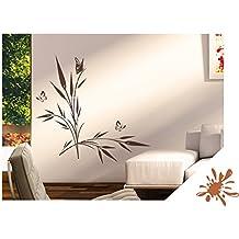 Wandtattoo Seegras Pflanze mit Schmetterlinge inkl. SWAROVSKI für Wohnzimmer Schlafzimmer Flur oder Diele (jap42 haselnussbraun) 80 x 48 cm mit Farb- u. Größenauswahl