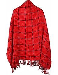 MZMZ ULTRA apretado el cuello BMBAI cálido-Multi-color bufandas tejer canteado enrejados Fancy Bufanda caliente mantón de enfermería toalla larga bufanda tejida, hembra rojo