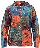 SHOPOHOLIC FASHION mit Kapuze steinwäsche Patchwork Blockmuster Opa Hippie Hemd - Gemischte Farben, Mehrfarbig, Large