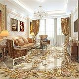 Mbwlkj Benutzerdefinierte Mural Tapete Wohnzimmer 3D Bodenfliesen Europäischen Stil Blume Retro Aufkleber Pvc Wasserdichte Luxus Wohnkultur Tapete-400cmx280cm