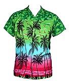 Saitark - Camicia hawaiana da uomo, motivo estivo con pappagalli al centro Green Taglia unica