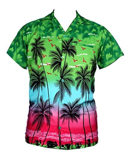 SAITARK-Camisa-casual-Floral-para-hombre-Multicolor-verde