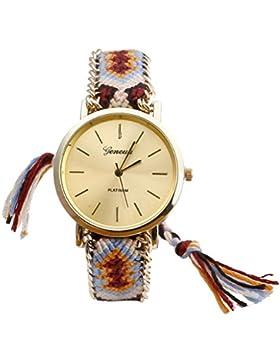 JSDDE Uhren,Genf Platinum Damen Ethnisch Blogger Hipster Vintage Uhr Braid Seil Band Analog Quarzuhr,Orange+Schwarz